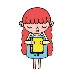 Color nice girl child with education book vector