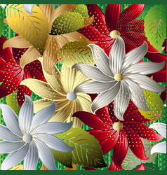 colorful decorative floral 3d seamless pattern vector image