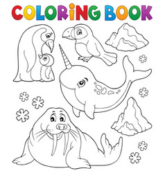 coloring book winter animals topic 1 vector image