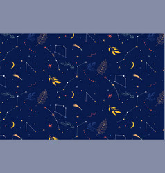 constellations seamless pattern night background vector image