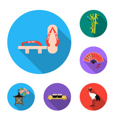 Country japan flat icons in set collection for vector