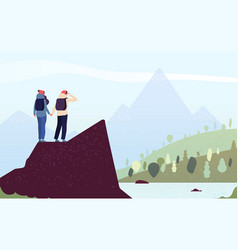couple on mountain happy woman man climbers vector image