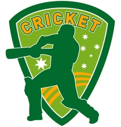 Cricket player batsman batting shield vector