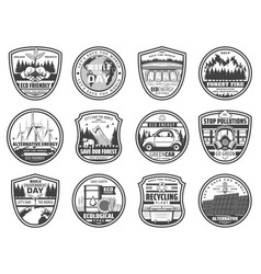 Ecology nature environment conservation icons vector