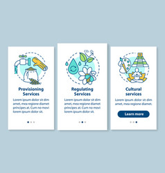 Ecosystem services onboarding mobile app page vector