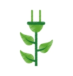 Ed plug cable leaves ecology energy symbol vector