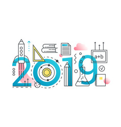 education 2019 word trendy composition concept vector image