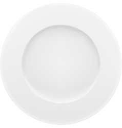 Empty white plate isolated on white vector image