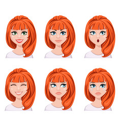 Face expressions of a redhead woman different vector