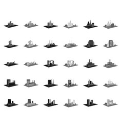 Factory and plant blackmonochrome icons in set vector