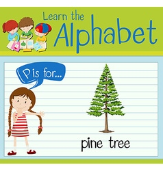 Flashcard letter P is for pine tree vector