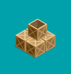 flat isometric wood box set vector image