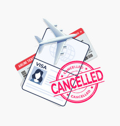 Flight cancelled with passport and travel ticket vector