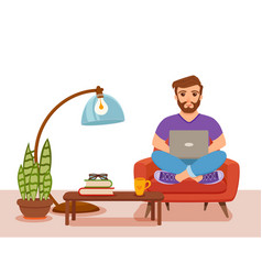 freelancer happy young men working on the sofa in vector image