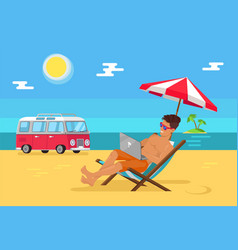 freelancer with laptop in recliner on sandy beach vector image