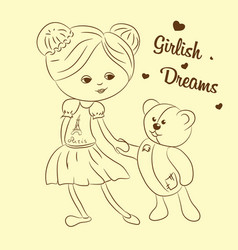 girl with teddy bear vector image