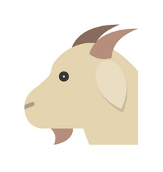 Goat head farm animal flat style icon vector