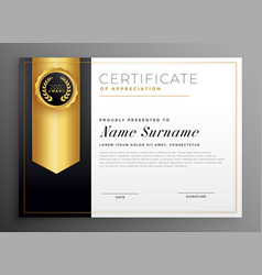 Golden company certificate design template vector