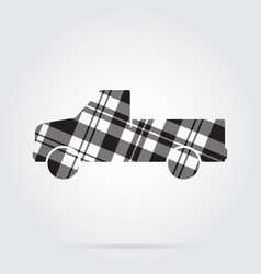 grayscale tartan icon - pickup with a flatbed vector image