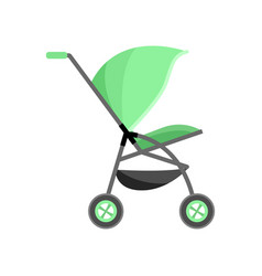 green color bacarriage kid pram with vector image