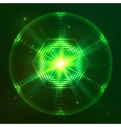 Green shining techno sphere vector image