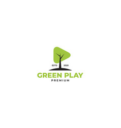 Green tree with play button music logo design vector