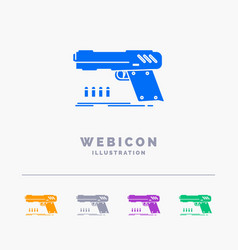 gun handgun pistol shooter weapon 5 color glyph vector image