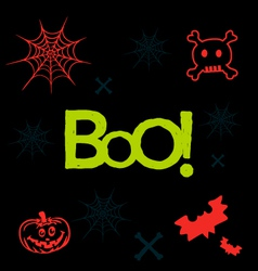 Halloween icons and text in neon colors on black vector image