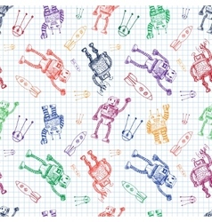 hand draw robot on exersize book Eps10 vector image
