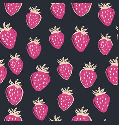 Hand drawn strawberry seamless pattern on vector