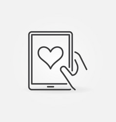 Hand holding tablet with heart outline icon vector
