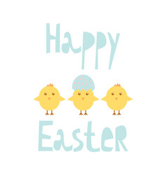 happy easter greeting card template with chicks vector image