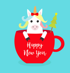 Happy new year unicorn horse sitting in red vector