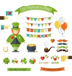 Happy St Patricks Day icon set vector