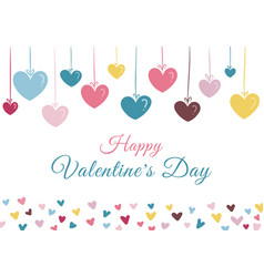 happy valentines day hand drawn many heart pastel vector image