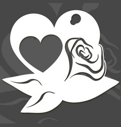 Heart in a heart with roses and leaves vector