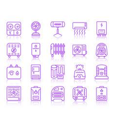 Hvac simple color line icons set vector