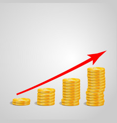 increasing piles of coins with going up graph vector image