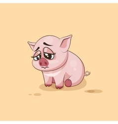 Isolated Emoji character cartoon Pig sad and vector