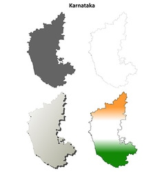 Karnataka blank detailed outline map set vector