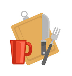 Kitchenware cutting board cup and cutlery vector