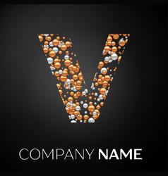 letter v logo gold-silver dots alphabet logotype vector image