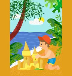 little boy making sandcastle on beach sea vector image