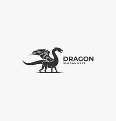 logo dragon silhouette style vector image