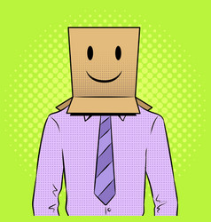 man with box happy emoji on head pop art vector image