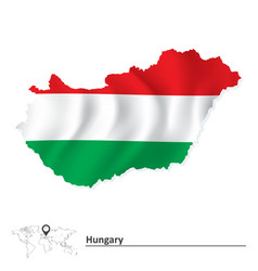 Map of Hungary with flag vector image