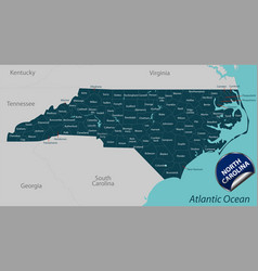 map state north carolina usa vector image