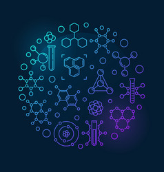 molecule round colorful outline vector image