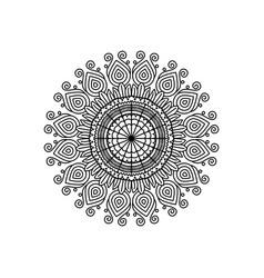 Monochrome silhouette flower mandala vintage vector