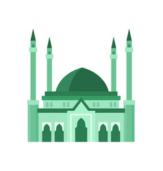 Mosque building green color vector